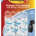 3M Command Mini Clear Hooks with Clear Strips 17006CLR
