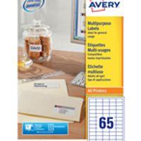 Avery Multi-Purpose Label 65TV per Sheet White Pk 100 Sheets 3666