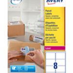 Avery Jam-Free Laser Address Label White 99.1x67.7mm 8 per Sheet Pk 500 L7165-500 (FPC)