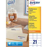 Avery Multi-Purpose Label 70x42.3mm 21TV per Sheet White Pk 100 Sheets 3652