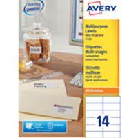 Avery Multi-Purpose Label 105x42.3mm 14TV per Sheet White Pk 100 Sheets 3653