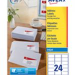 Avery QuickDRY Inkjet Label 64x34mm 24 per Sheet 24TV Pk 100 White J8159-100
