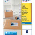 Avery QuickDRY Inkjet Label 99.1x93.1mm 6 per Sheet 6TV Pk 100 White J8166-100