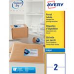 Avery QuickDRY Inkjet Label 199.6x143.5mm 2 per Sheet Pk 100 J8168-100