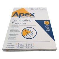 Fellowes Apex Laminating Pouch A4 Light Duty Clear Pk 100 6003201