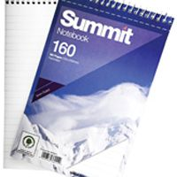 Summit 125x200mm Spiral Shorthand Notebook 80 Leaf Ruled Feint (Pk 10) 846200078