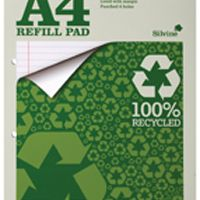 Silvine Refill Pad A4 Punched 4 Hole Recycled Ruled Feint and Margin Pk6 RE4FM-T