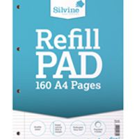 Silvine Refill Pad A4 Punched 4 Hole Headbound 80 Leaf Ruled Narrow Feint and Margin Pk6 A4RPNM
