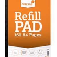 Silvine Refill Pad A4 Punched 4 Hole Punched 80 Leaf Ruled Feint and Margin Sidebound Pk6 A4SRPFM