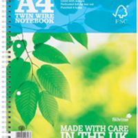 Silvine Twin Wire Notebook Blue A4 160 Pages Ruled with Margin (Pk 5) R202