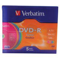 Verbatim DVD-R 16X Non-Printable Slim Case Pk 5 43557
