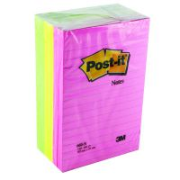 Post-it Notes XXL 101 x 152mm Lined Neon Assorted (Pack of 6) 660N
