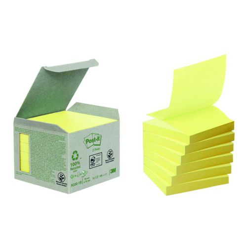 Post-it Recycled Z-Notes 76 x 76mm Canary Yellow (Pack of 6) R330-1B