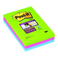 Post-it Notes Super Sticky XXL 101 x 152mm Lined Ultra Colours (Pack of 3) 660-3SSUC
