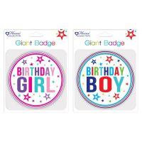 Giftmaker Giant Girl and Boy Birthday Badge (Pack of 24) GBAD