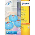 Avery White Full Face CD/DVD Laser Label 2 Per Sheet (Pack of 25) L7676-25