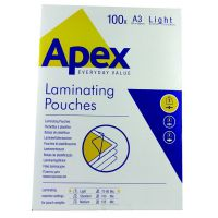 Fellowes Apex A3 Light Duty Laminating Pouches 150 Micron Clear (Pack of 100) 6001901