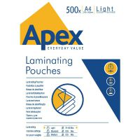 Fellowes Apex A4 Laminating Pouch Light Duty 150 Micron (Pack of 500) 6005201
