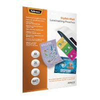 Fellowes Admire Stylish Matt A4 Laminating Pouches 160 Micron (Pack of 25) 5602101