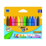 Bic Kids Plastidecor Triangle Crayons Assorted Colours 829773 (Pack of 12)