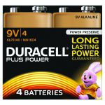 Duracell Plus Battery 9V (Pack of 4) 81275463
