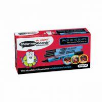 Show-me Fine Point Slim Barrel Drywipe Black Marker (Pack of 10) FPSDP