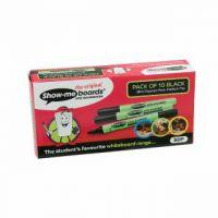 Show-me Medium Point Slim Barrel Drywipe Black Marker (Pack of 10) SDP