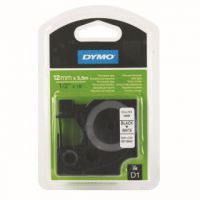 Dymo Black on White D1 Permanent Tape 12mmx5.5m S0718060