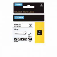 Dymo Rhino Vinyl Tape 9mmx5.5m Black on White 18443