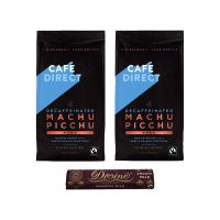 Cafedirect Fairtrade Organic Decaf Coffee 227g (Pack of 2) FOC Divine Chocolate Bar GAL838130