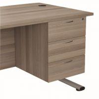 Jemini Grey Oak 3 Drawer Fixed Pedestal KF78941