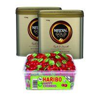 Nescafe Gold Blend Coffee 750g (Pack of 2) Plus FOC Haribo Happy Cherries Tub NL819851