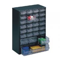 Clear 28 Drawer System Dark Grey Storage Cabinet 324128