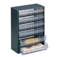 Clear 6 Drawer System Dark Grey Storage Cabinet 324223