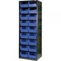 Metal Bin Cupboard With 18 Polypropylene Bins Dark Grey Black 371832