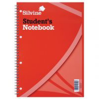 Silvine Feint Ruled Student's Notebook 120 Pages A4 (Pack of 12) 141