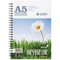 Silvine Carbon Neutral Ruled Wirebound Notebook 120 Pages A5 (Pack of 5) R303