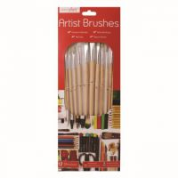 Work of Art Natural Bristle Artist Brushes Flat Tip (Pack of 12) TAL06717
