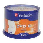 Verbatim 4.7GB 4x Speed Spindle DVD-R (Pack of 50) 43488