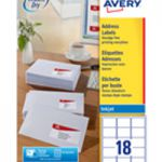 Avery QuickDRY Inkjet Label 63.5x46.6mm 18 per Sheet 18TV Pk 100 White J8161-100