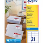Avery QuickDRY Inkjet Label 63.5x38.1mm 21 per Sheet Pk 100 J8160-100