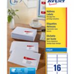 Avery QuickDRY Inkjet Label 99.1x33.9mm 16 per Sheet Pk 100 J8162-100