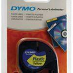 Dymo Letratag Plastic Tape 12mm x4m Hyper Yellow S0721620
