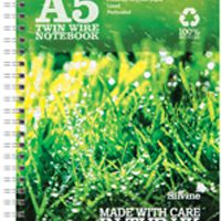 Silvine Recycled A5 Twin Wire Notebook Green 120 Pages (Pk 5) R103