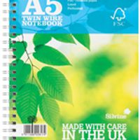Silvine Twin Wire Notebook Blue A5 160 Pages Ruled (Pk 5) R203
