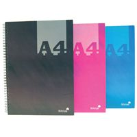 Silvine A4 Twin Wire Hardback Notebook Assorted 140 Pages Ruled (Pk 6) THBA4AC