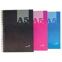 Silvine A5 Twin Wire Hardback Notebook Assorted 140 Pages Ruled (Pk 12) THBA5AC