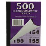 Silvine Cloakroom Ticket 1-500 Pk12 5555