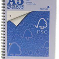 Silvine A5 FSC Twin Wire Notebook 160 Pages Feint Ruled Pk5 FSCTWA5