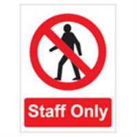 Sign Staff Only With Logo PVC 150 x 200mm